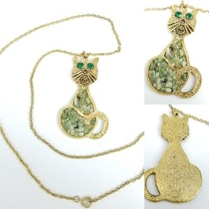 Green Eyed Cat Hammered Goldtone Chain Necklace